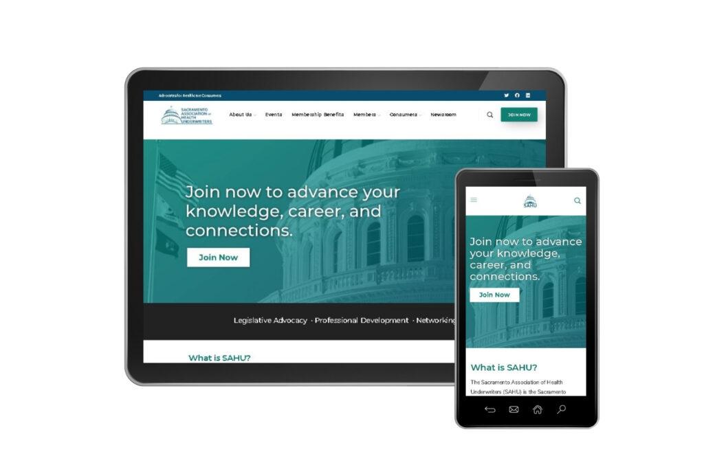 SAHU website homepage mobile